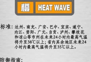 热浪持续!成都发布高温橙色预警信号